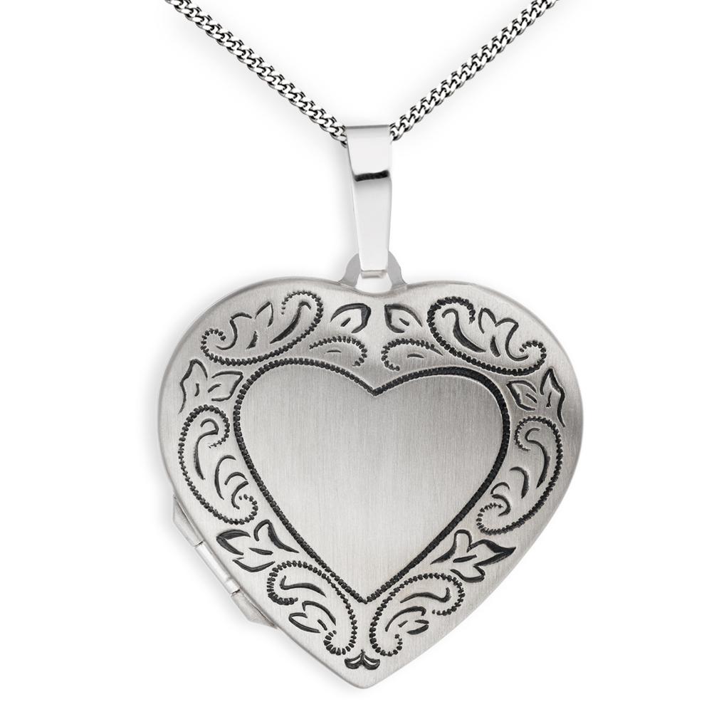 Medaillon Herz mattiert Ornament verziert 925  Silber für 2 Fotos + Kette