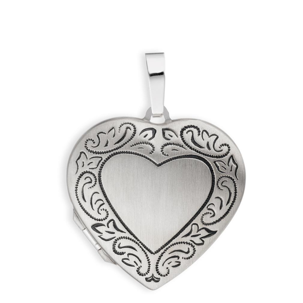 Medaillon Herz mattiert Ornament verziert 925  Silber für 2 Fotos mit Etui