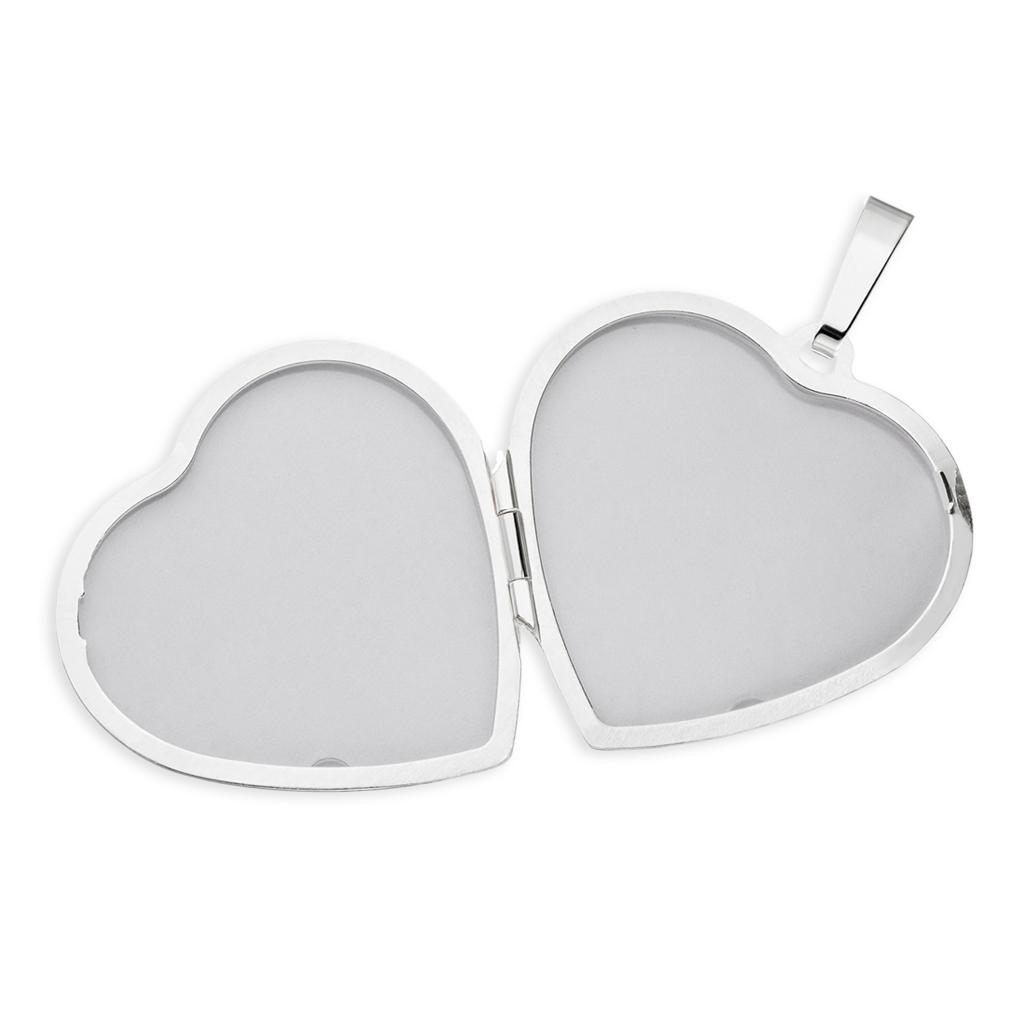 Medaillon Herz eis-mattiert verziert Herzform 925 Silber für 2 Fotos + Kette Etui