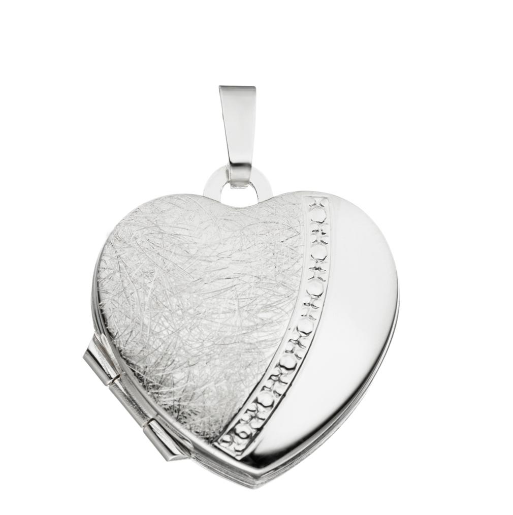 Medaillon Herz eismattiert verziert Herzform 925 Sterling Silber für 2 Fotos