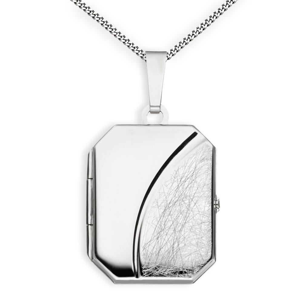 Medaillon eis-mattiert achteckig 925 Sterling Silber für 2 Fotos + Kette mit Etui