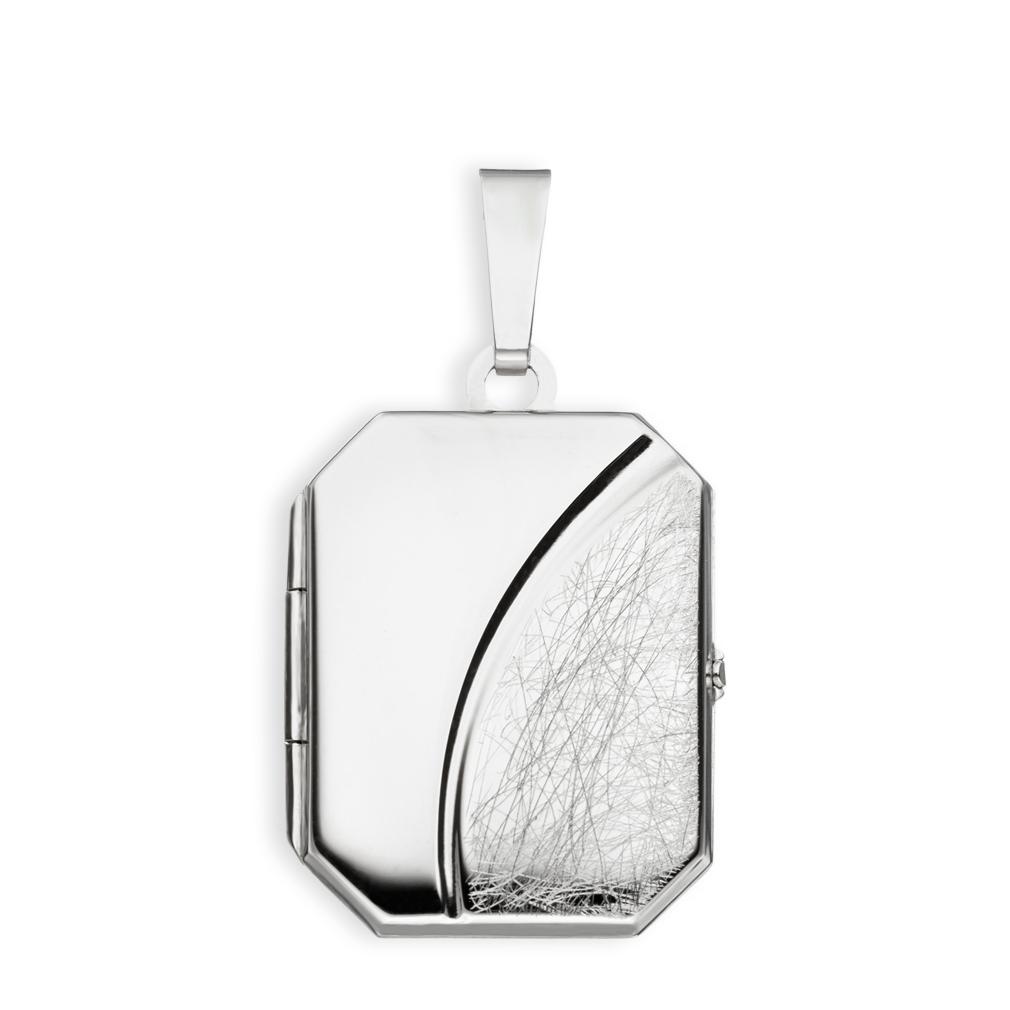 Medaillon eis-mattiert verziert achteckig 925  Silber für 2 Fotos mit Etui