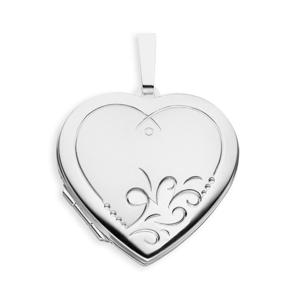 Medaillon Herz teilmattiert verziert Herz 925 Sterling Silber für 2 Fotos + Etui
