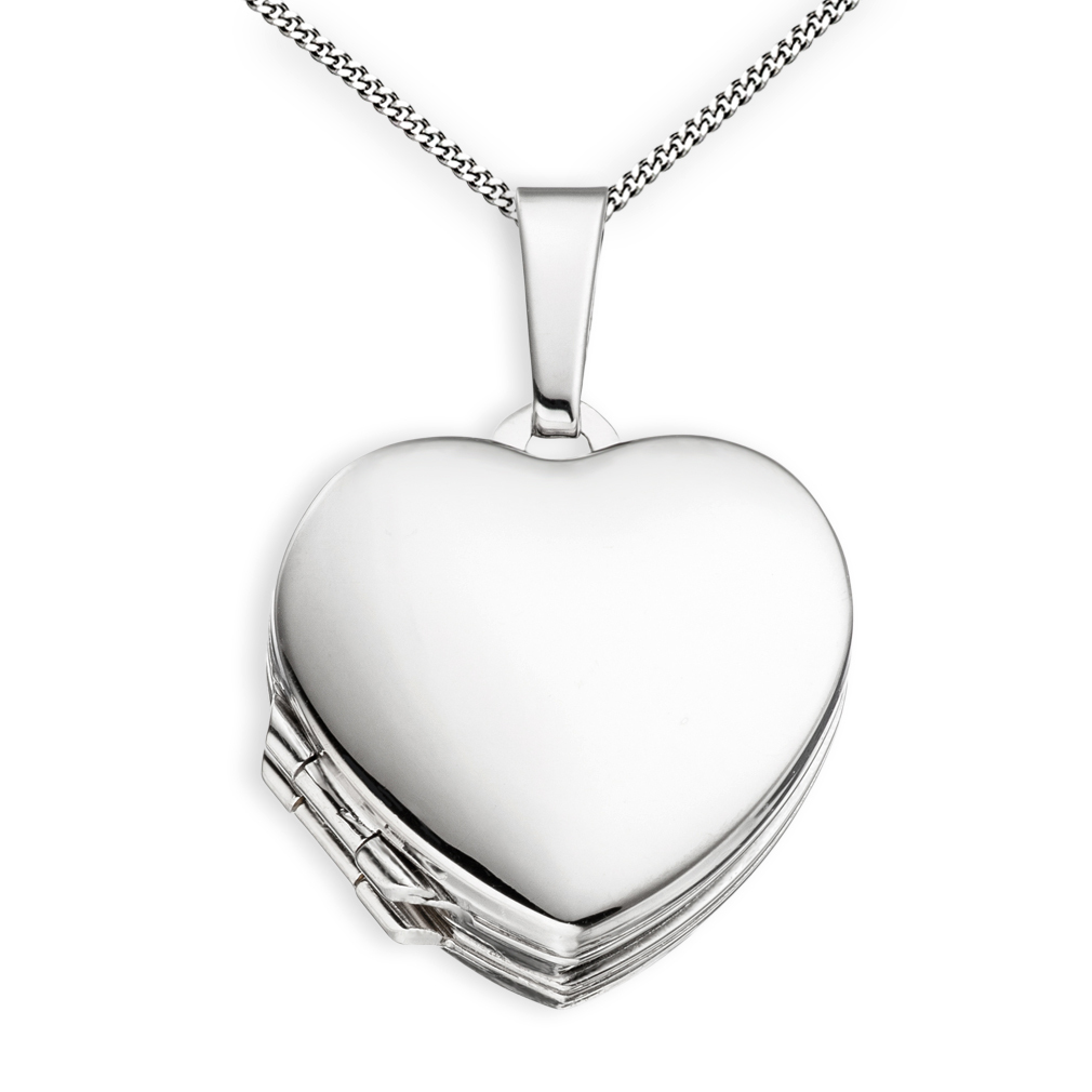 Medaillon Doppelmedaillon hochglanz Herz 925 Silber für 4 Fotos + Kette