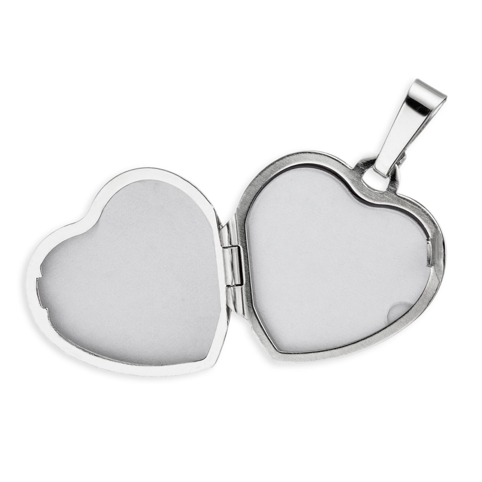Medaillon Doppelmedaillon Herz hochglanz 925 Sterling Silber für  4 Fotos