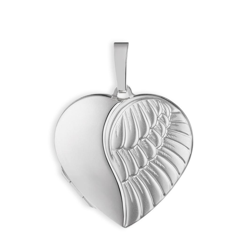 Medaillon mattiert verziert Herz Engel Flügel  925  Silber für 2 Fotos + Etui
