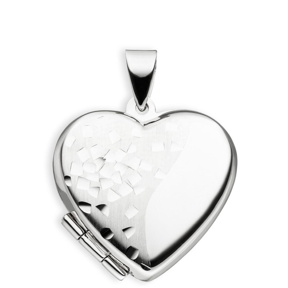 Medaillon Herz teilmattiert verziert 925 Sterling Silber für 2 Fotos mit Etui