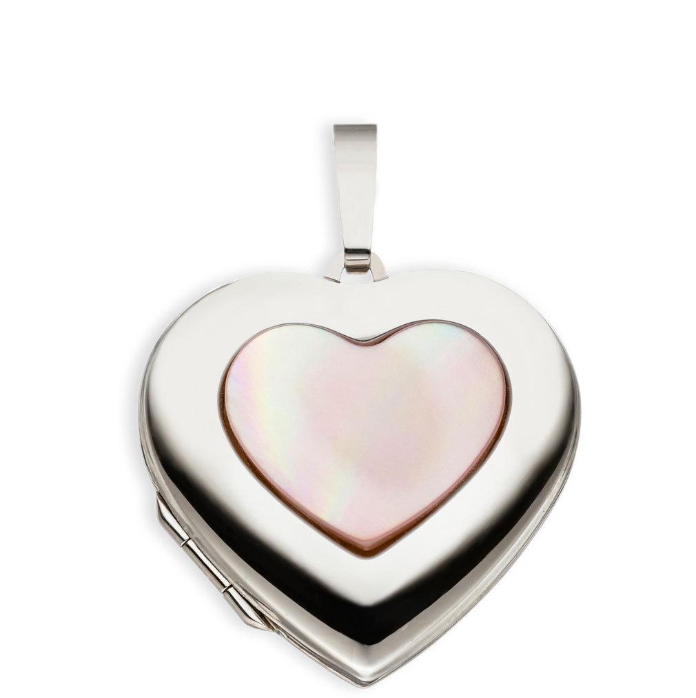 Medaillon Herz hochglanz Perlmutt 333 Weißgold 8 Karat für 2 Fotos
