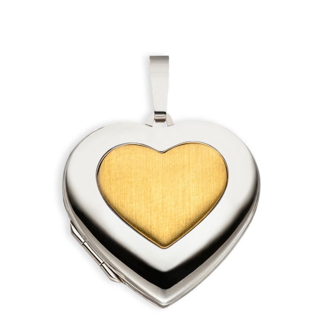 Medaillon hochglanz Herz 333 Weißgold Gelbgold 8 Karat für 2 Fotos mit Etui
