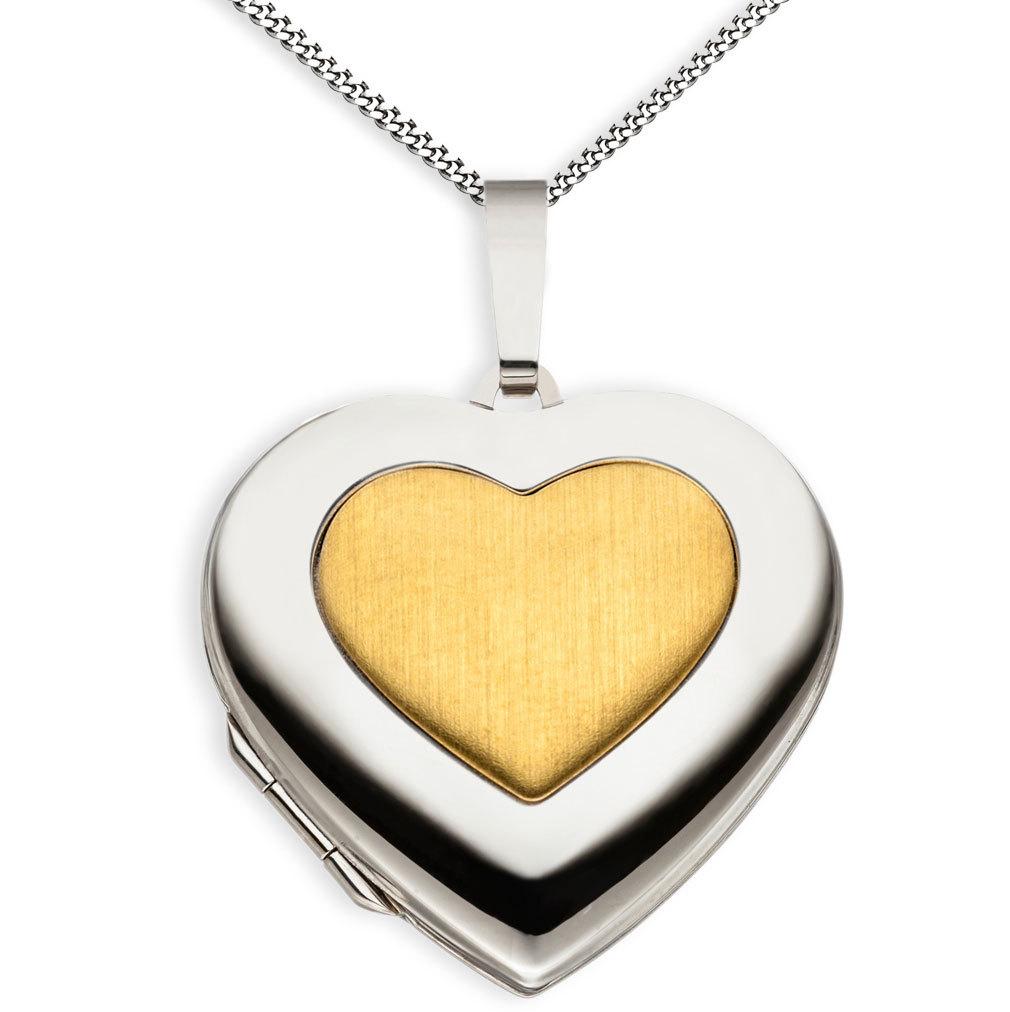 Medaillon hochglanz Herz 333 Weißgold Gelbgold 8 Karat für 2 Fotos + Kette
