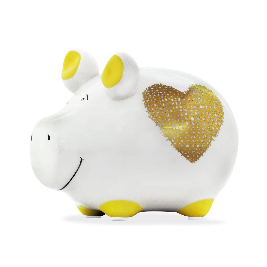 Sparschwein Herz Goldlack Spardose Sparbüchse Keramik Geldgeschenk