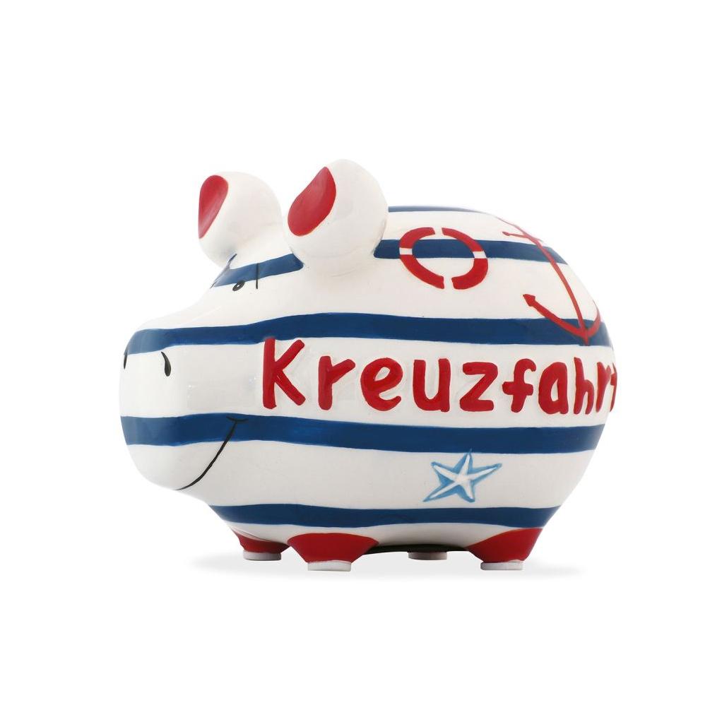 Sparschwein Kreuzfahrt Meer Anker Rettungsring rot blau Matrose Seestern Spardose Keramik
