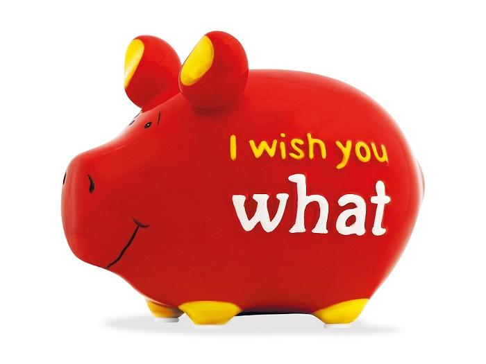 Sparschwein I Wish You What Geburtstag Spardose Keramik Geldgeschenk