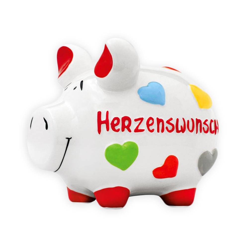Sparschwein Herzenswunsch Spardose Sparbüchse Keramik Geldgeschenk