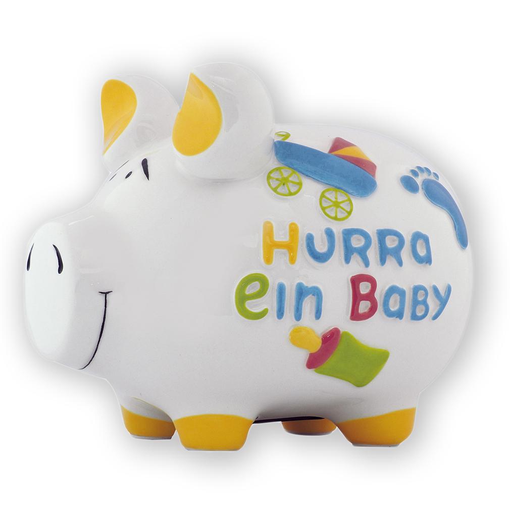 Sparschwein Hurra ein Baby mehrfarbig Kinderwagen Spardose Keramik Geldgeschenk