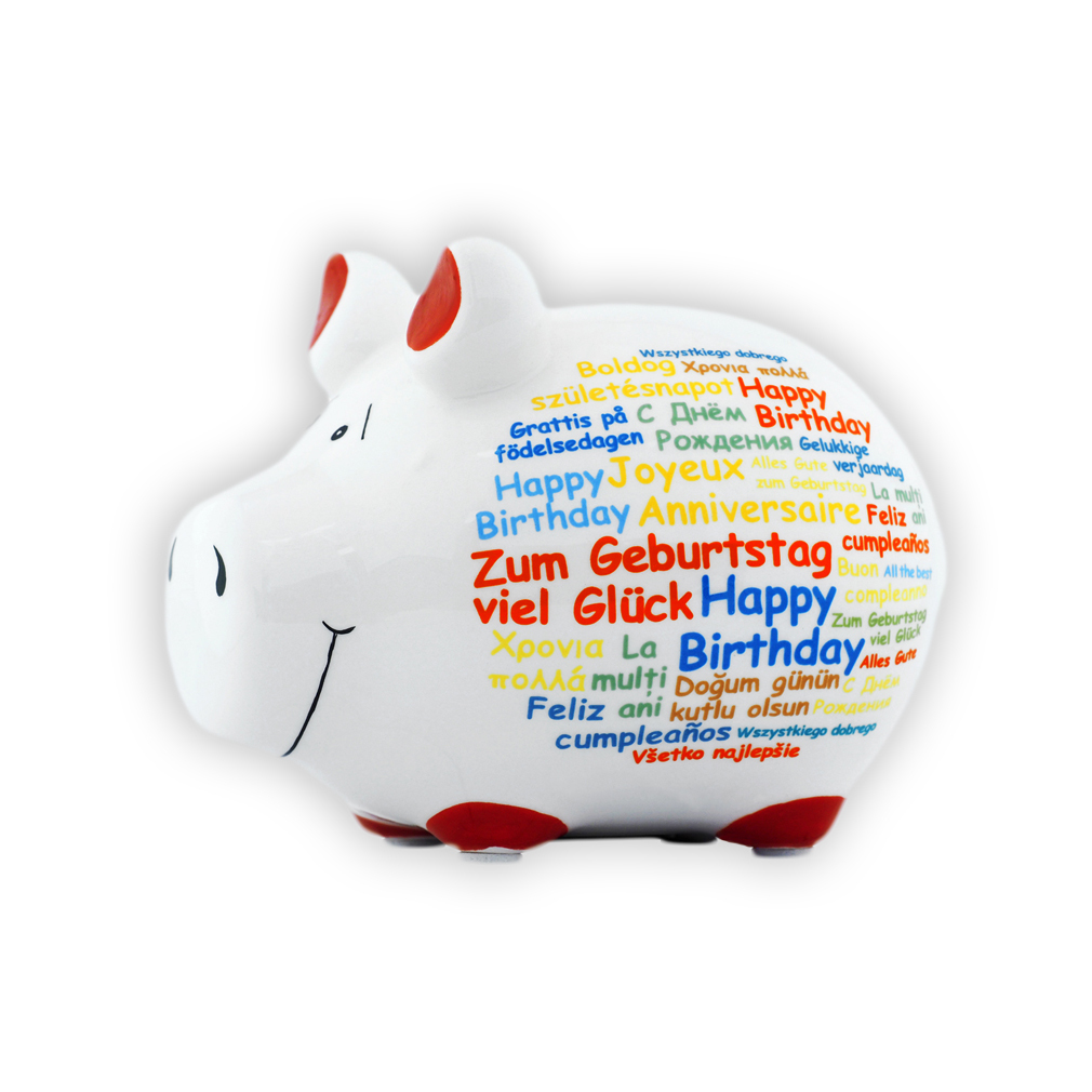 Sparschwein Happy Birthday Sprachen international Spardose Keramik Geldgeschenk