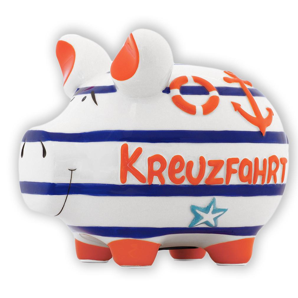 Sparschwein Kreuzfahrt rot blau Matrose Meer Anker Spardose Keramik Geldgeschenk
