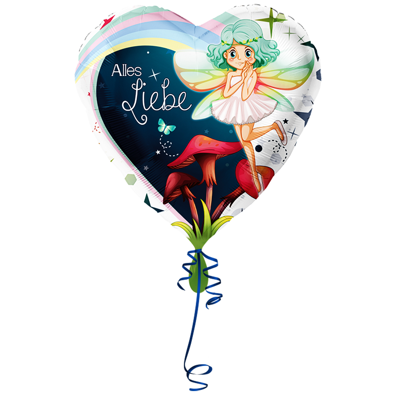 >> Fertig Heliumbefüllt << Folienballon großes Herz - Alles Liebe -  mit Fee Elfe Ballon