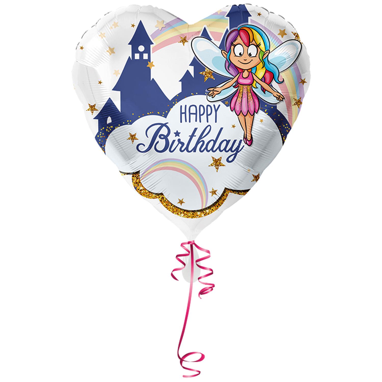 >> Fertig Heliumbefüllt << Folienballon großes Herz Happy Birthday mit Fee Elfe Ballon
