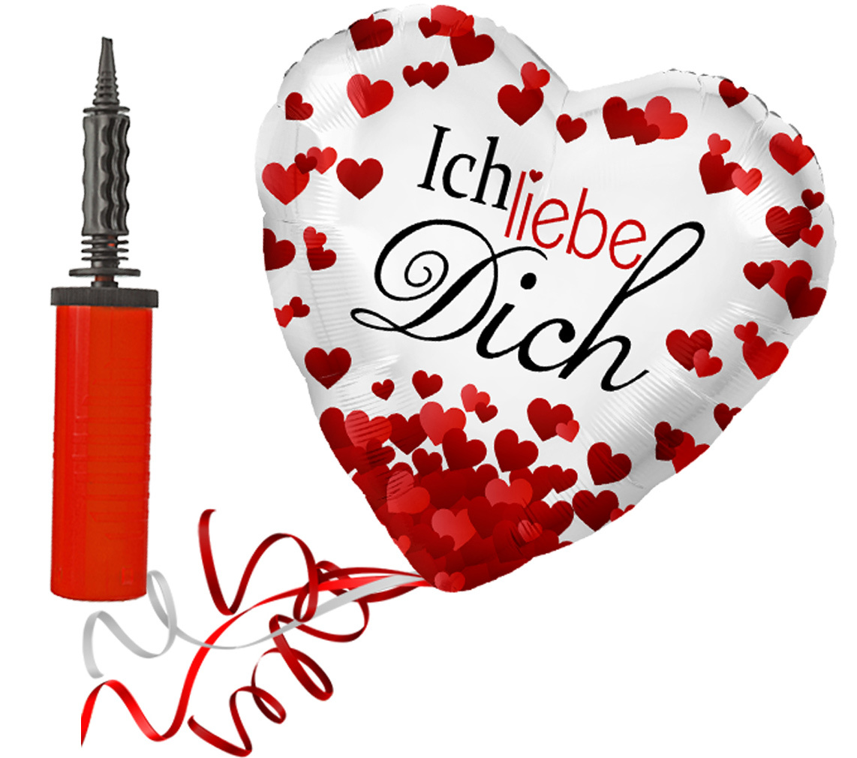 Folienballon großes Herz rote Herzen Ich liebe Dich Ballon mit Handpumpe Liebe Heiratsantrag