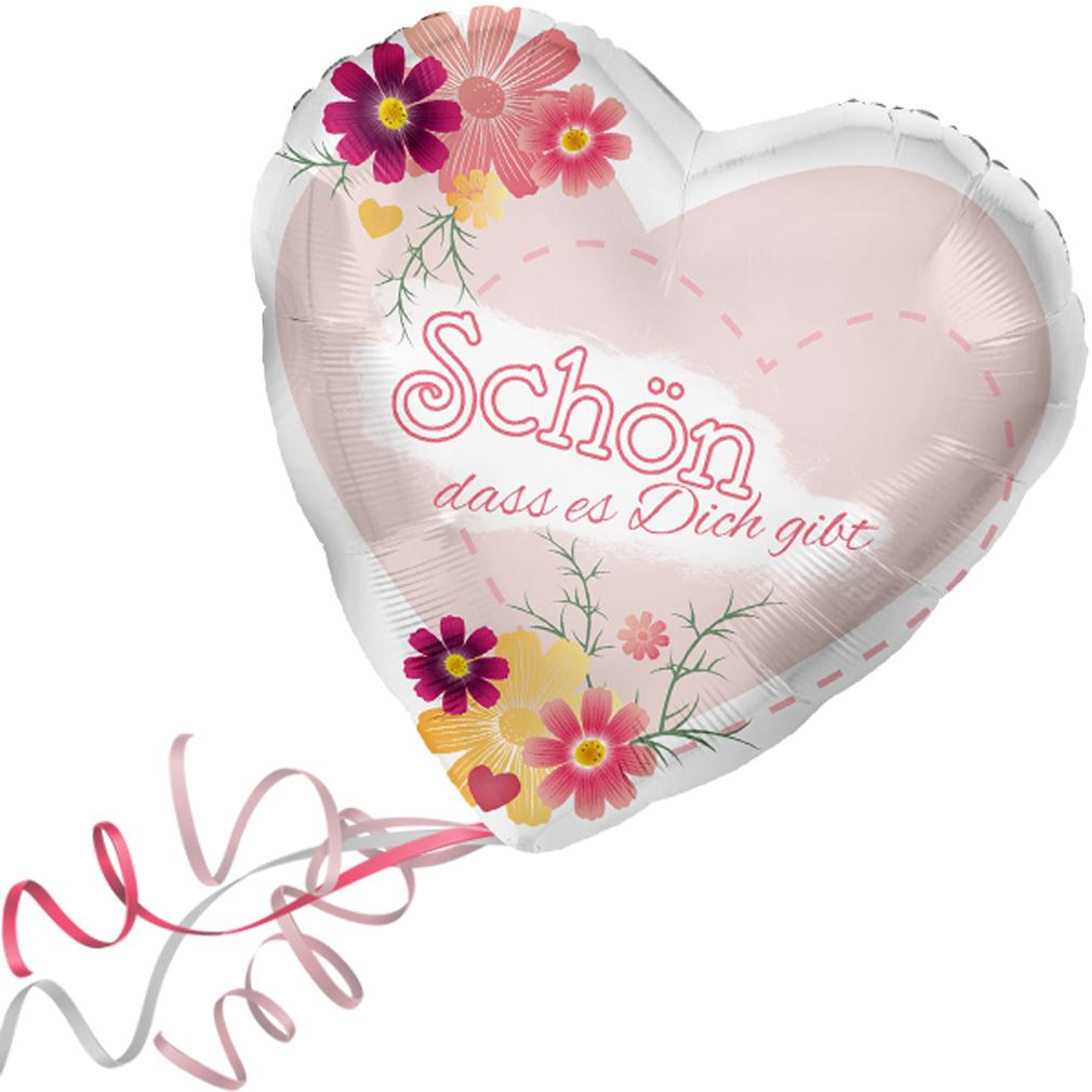 >>>  Fertig Heliumbefüllt  <<< Folienballon großes Herz rot rosa Blumen Ballon mit Helium