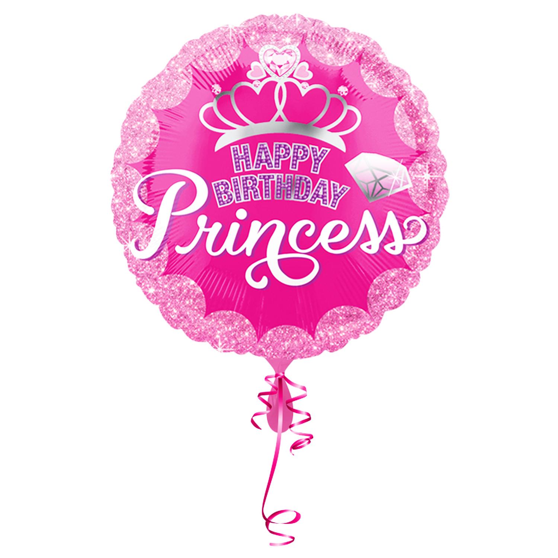 >> Fertig Heliumbefüllt  << Großer Folienballon rund Princess Geburtstag Prinzessin