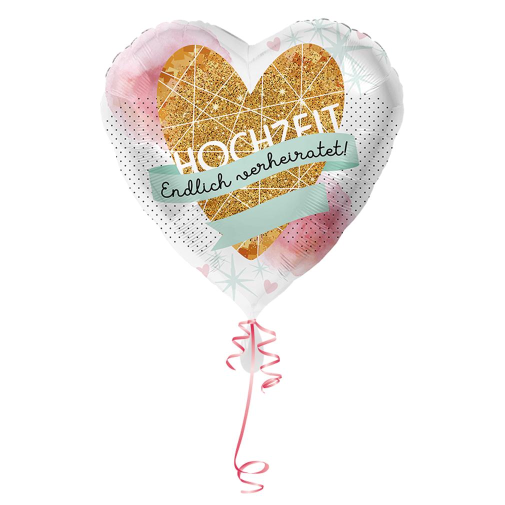 >>>Fertig heliumbefüllt<<< Folienballon großes Herz Hochzeit Ballon mit Helium