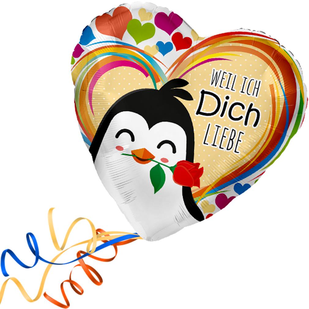 >>>  Fertig Heliumbefüllt  <<< Folienballon großes Herz bunte Herzen Pinguin Ballon mit Helium