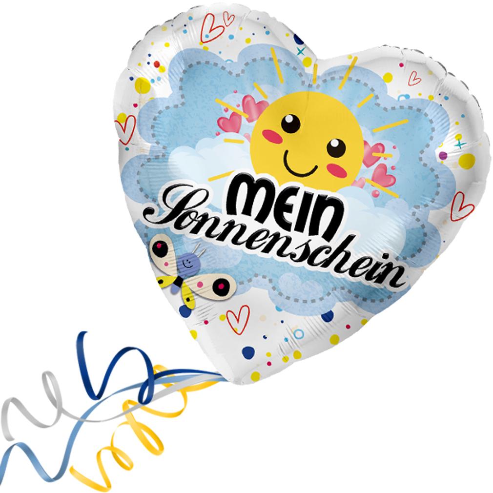 >>>  Fertig Helium-befüllt  <<< Folienballon großes Herz Mein Sonnenschein Ballon
