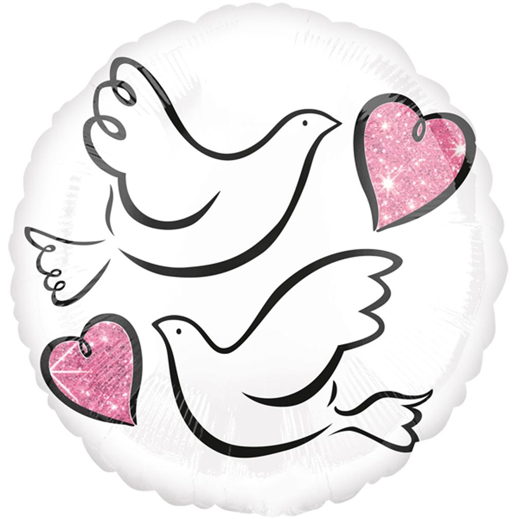 >> Fertig Heliumbefüllt  << Großer Folienballon rund mit Tauben Herzen Hochzeit
