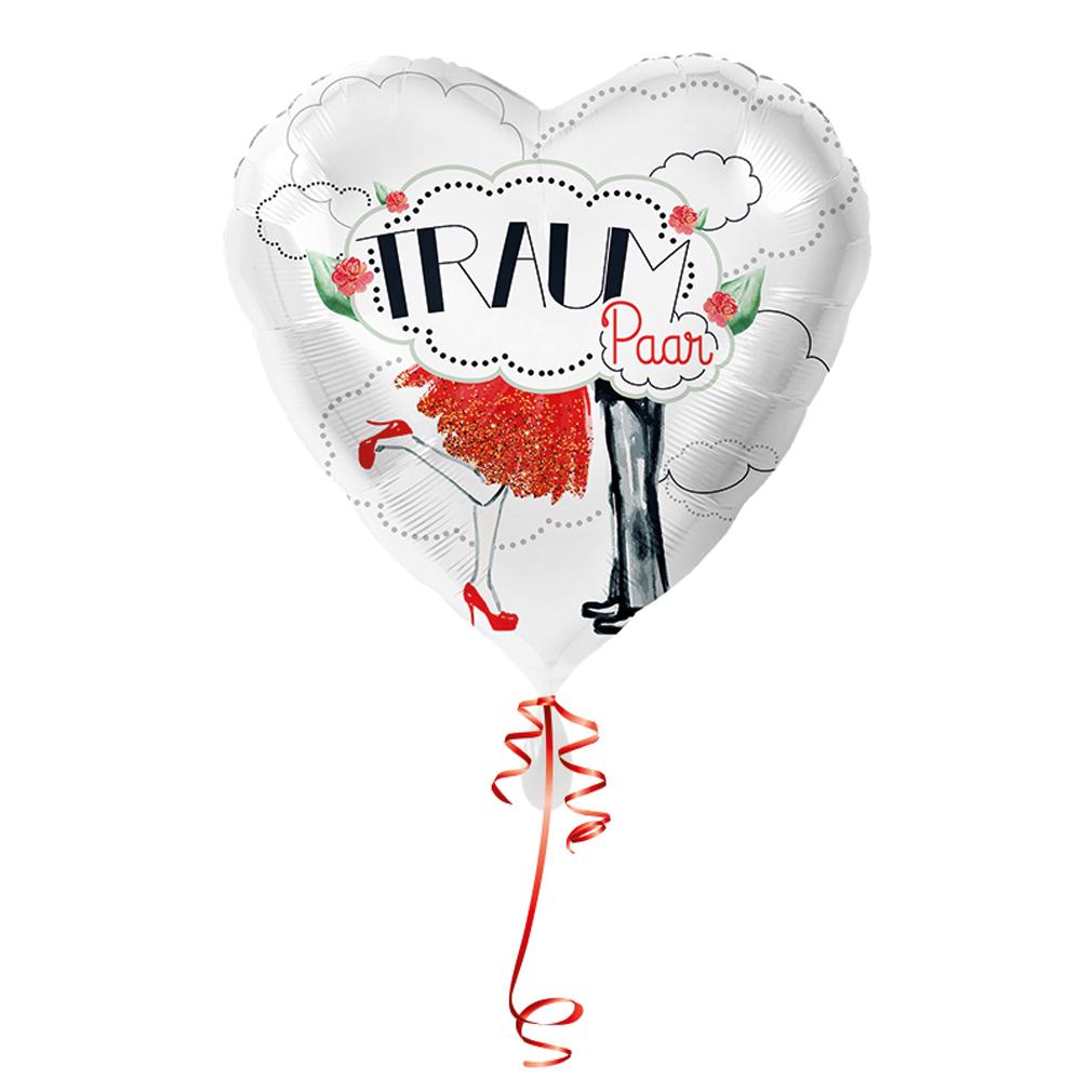 >>>Fertig heliumbefüllt<<< Folienballon großes Herz Traumpaar Ballon mit Helium