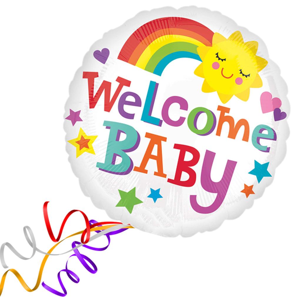 >> Fertig Heliumbefüllt  << Großer Folienballon rund bunt Welcome Baby Herzen Ballon Geburt