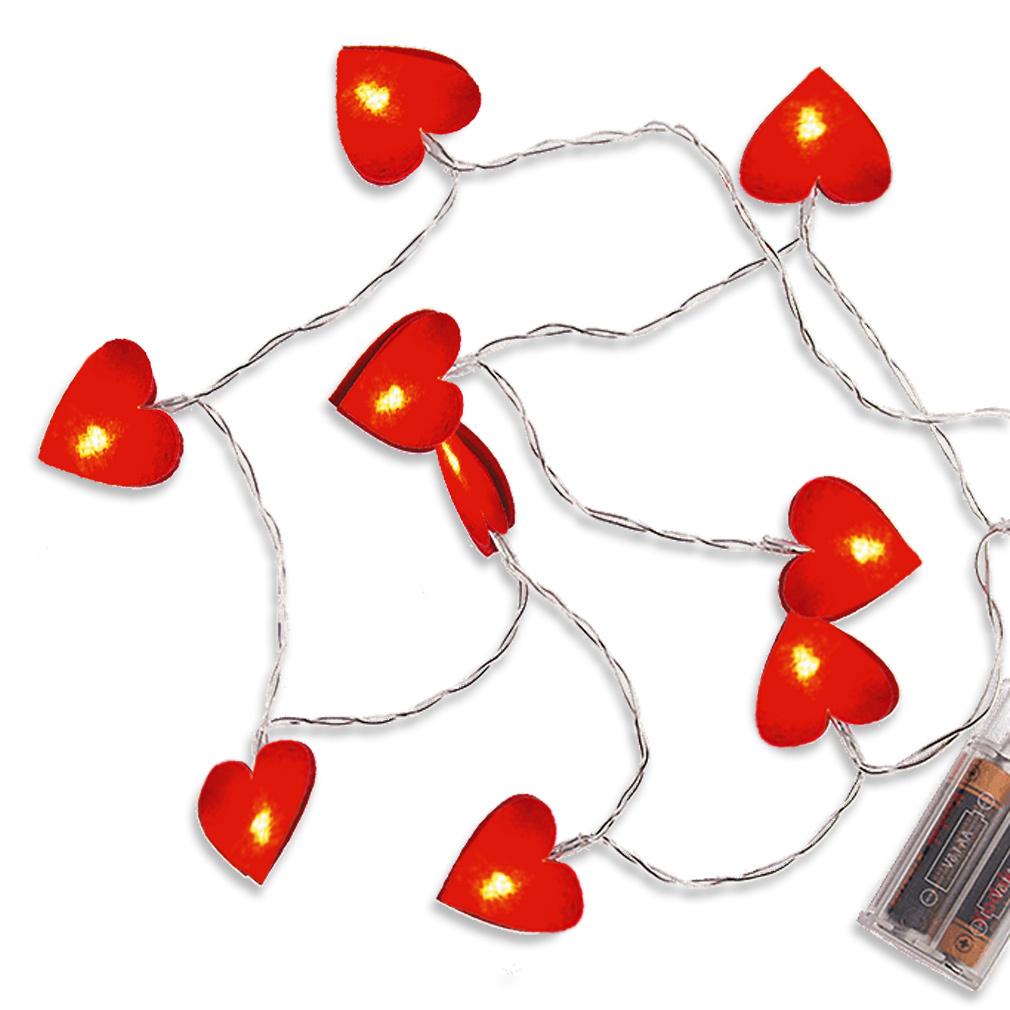 Lichterkette rot Filz-Herzen 10er LED Herzen Dekoration Herz Lichtkette Herzdeko