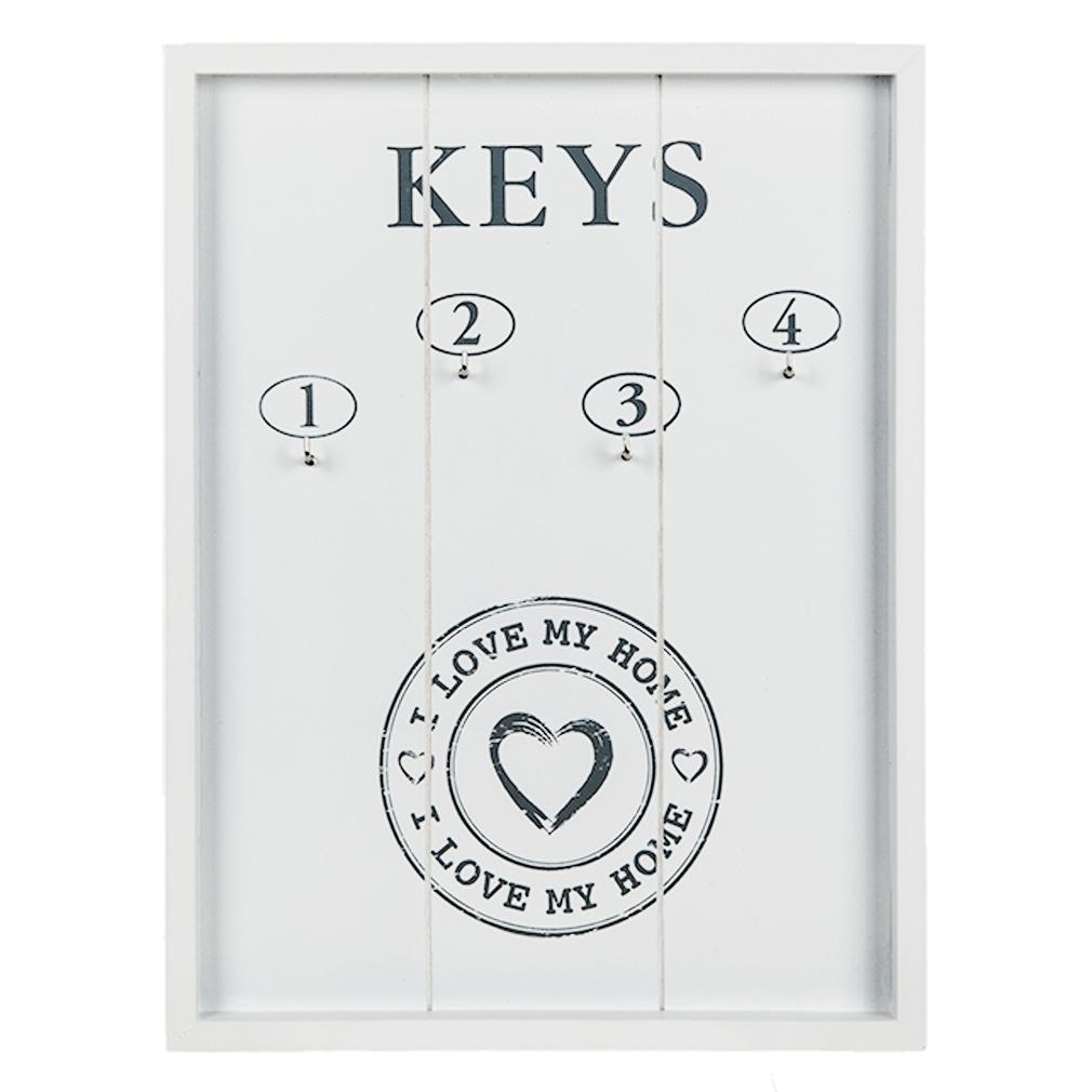 Schlüsselbrett Schlüsselboard weiß Holz + 4 Haken Schlüsselkasten mit Herz Love