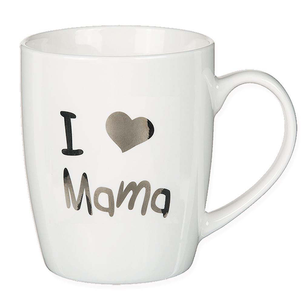 Tasse Kaffeebecher Kaffeetasse Becher Teetasse Herz Design Porzellan I love Mama