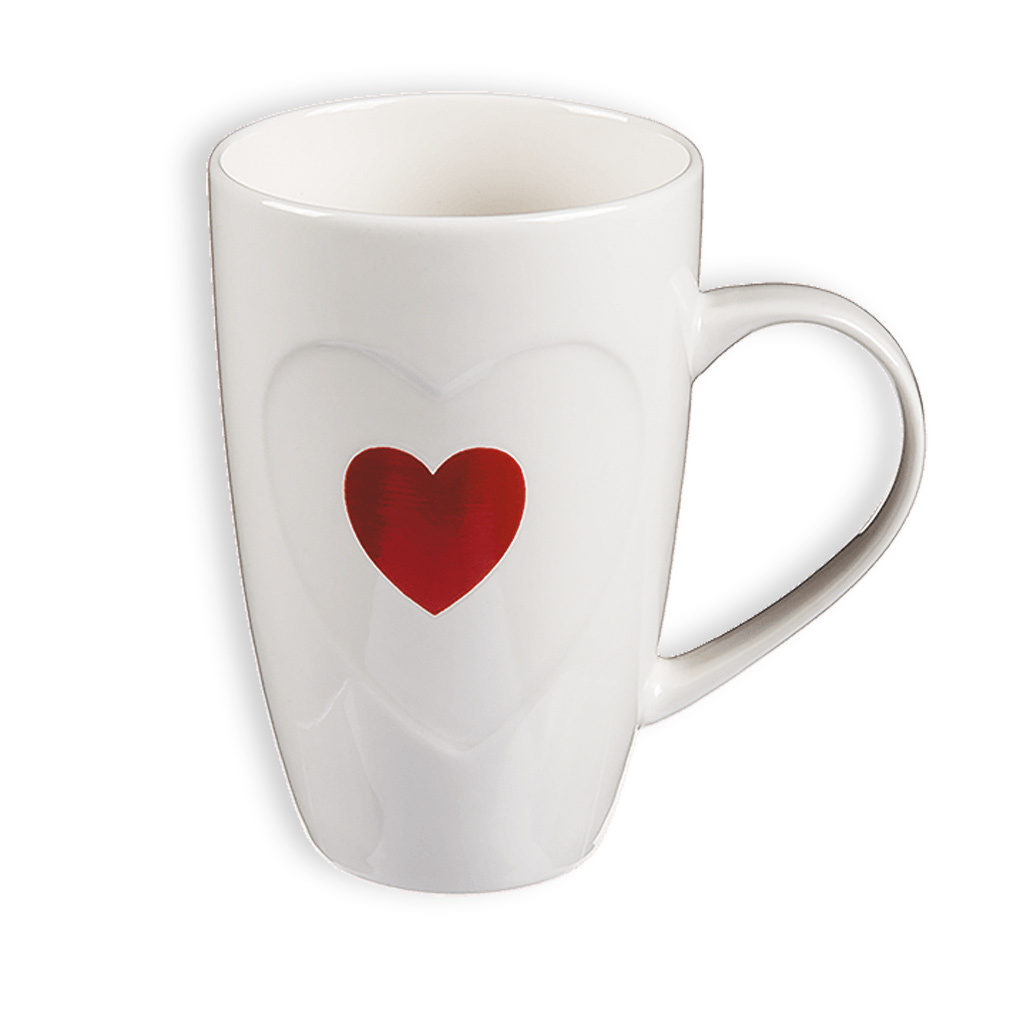 Tasse Kaffeebecher Kaffeetasse Becher Teetasse mit Herz rot Keramik