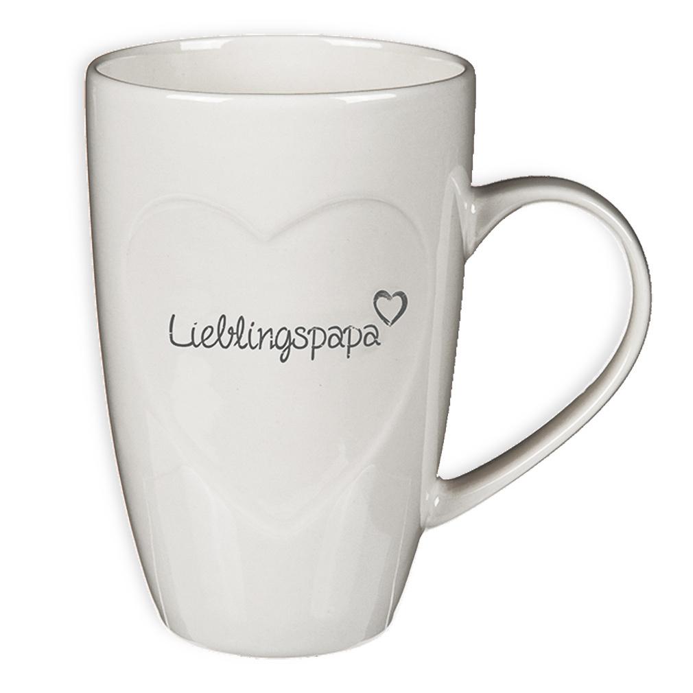 Tasse Kaffeebecher Kaffeetasse Becher Teetasse Lieblingspapa aus Keramik weiß