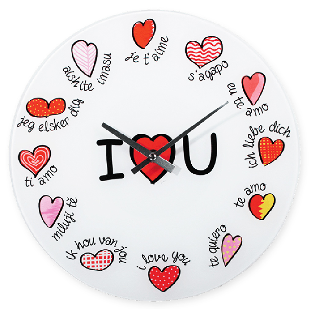 Wanduhr - Glas - Uhrwerk Dekouhr Liebe Beschriftung Ich liebe Dich mehrsprachig