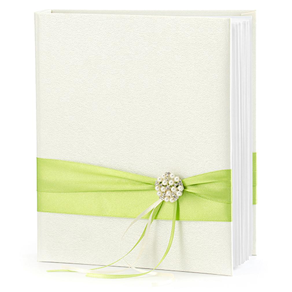 Gästebuch Hochzeit Hochzeitsgästebuch mit Satin Hochzeitsalbum creme-farben grün