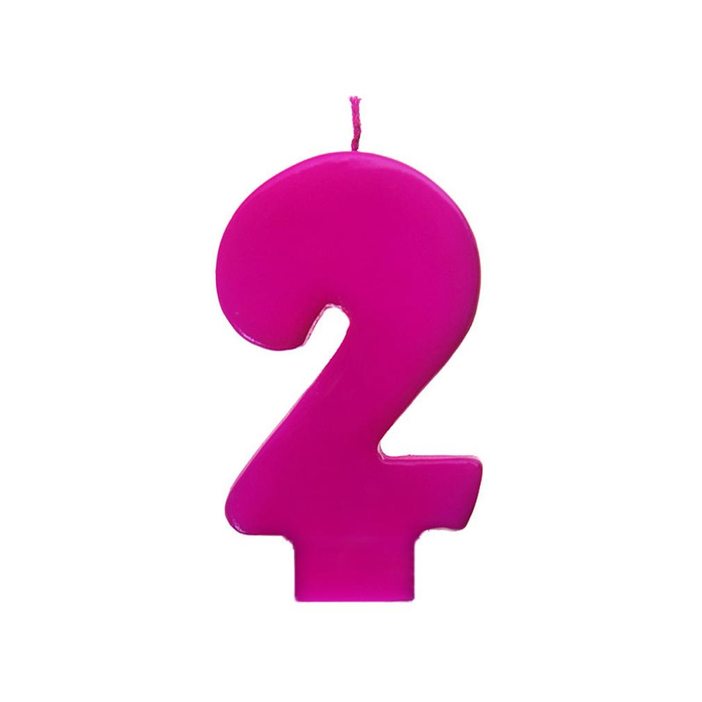 Zahlenkerze Kerze Geburtstagstorte Geburtstagskuchen Geburtstag 2 pink Variante