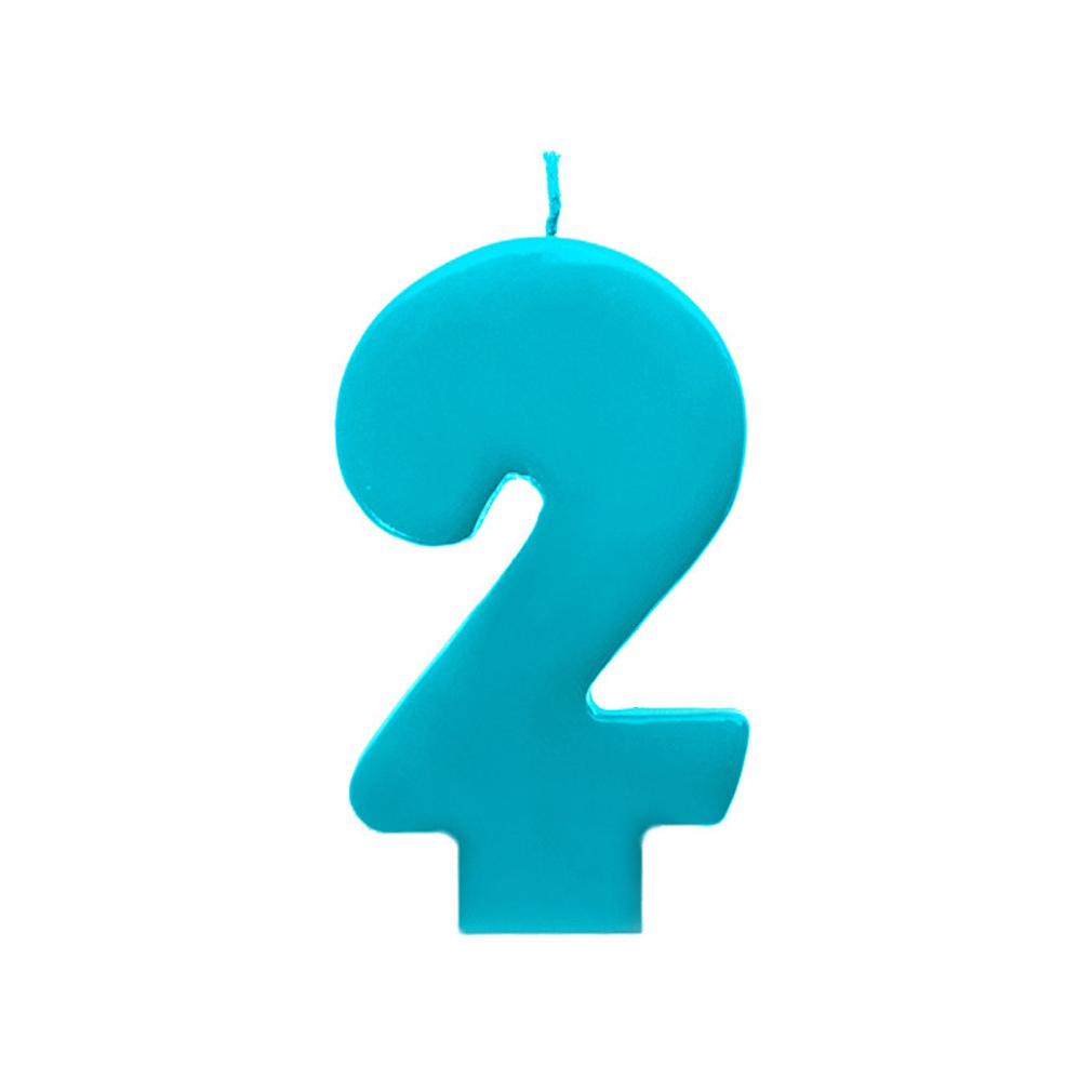 Zahlenkerze Kerze Geburtstagstorte Geburtstagskuchen Geburtstag 2 türkis