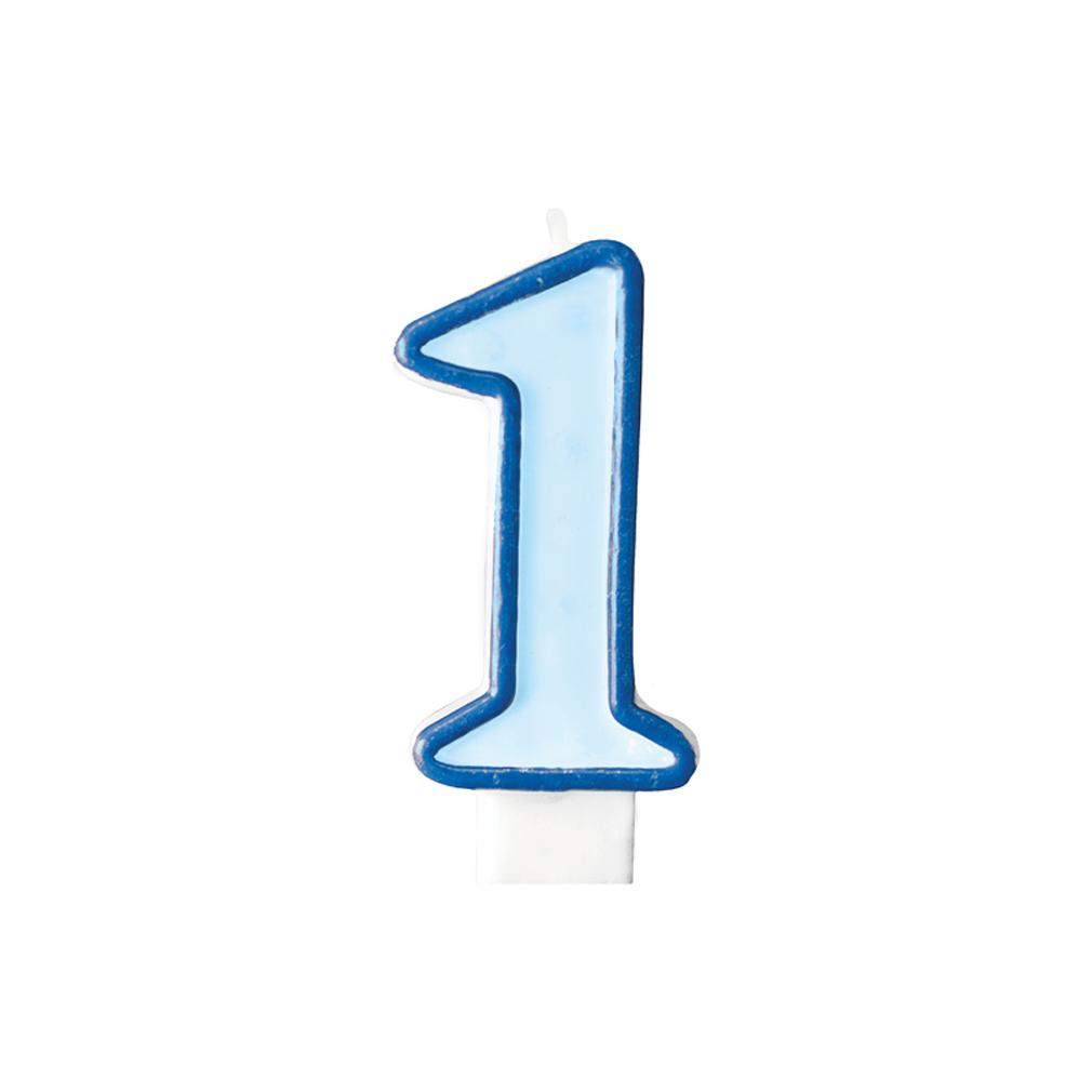 Zahlenkerze Kerze Geburtstagstorte Geburtstagskuchen Geburtstag 1 blau