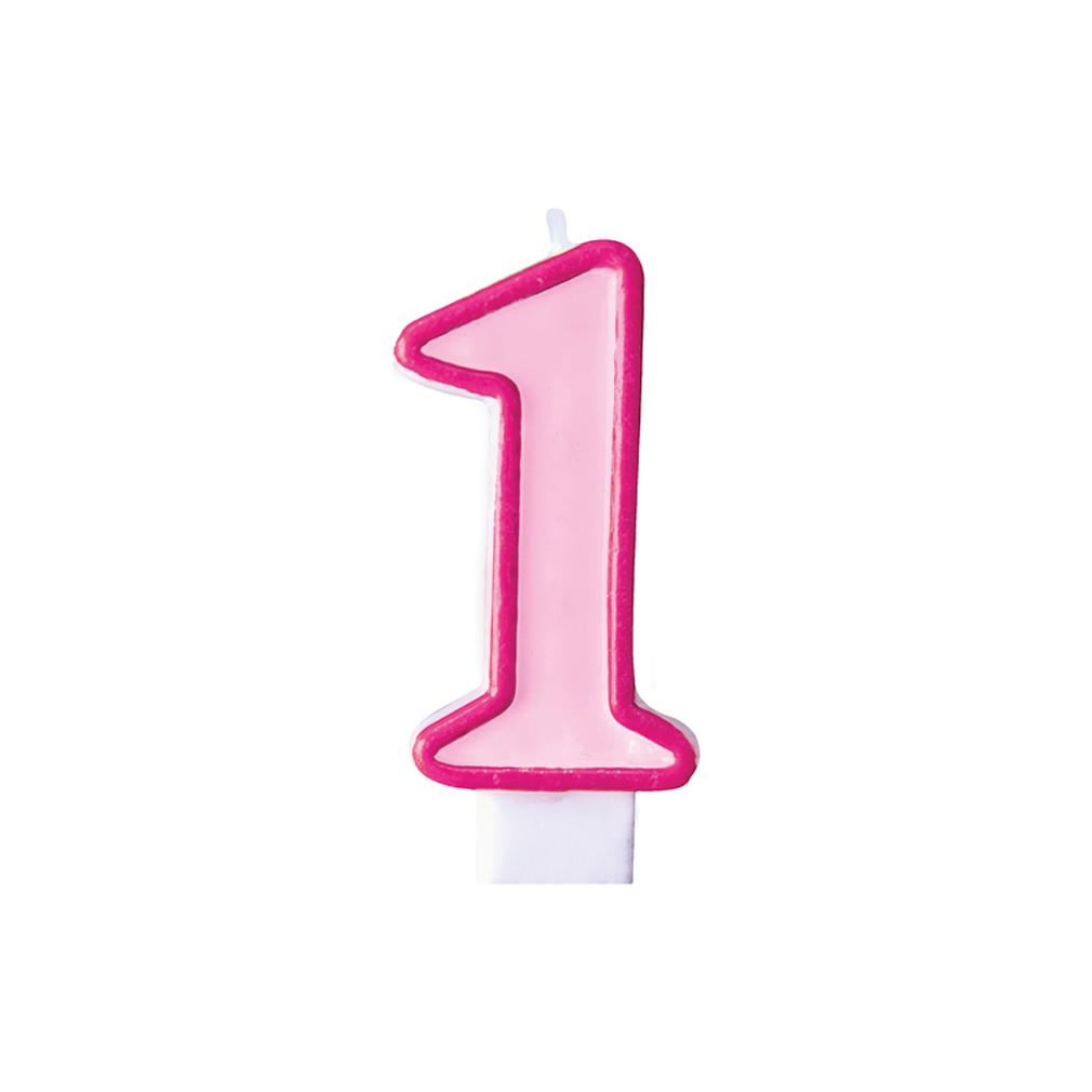 Zahlenkerze Kerze Geburtstagstorte Geburtstagskuchen Geburtstag 1 pink