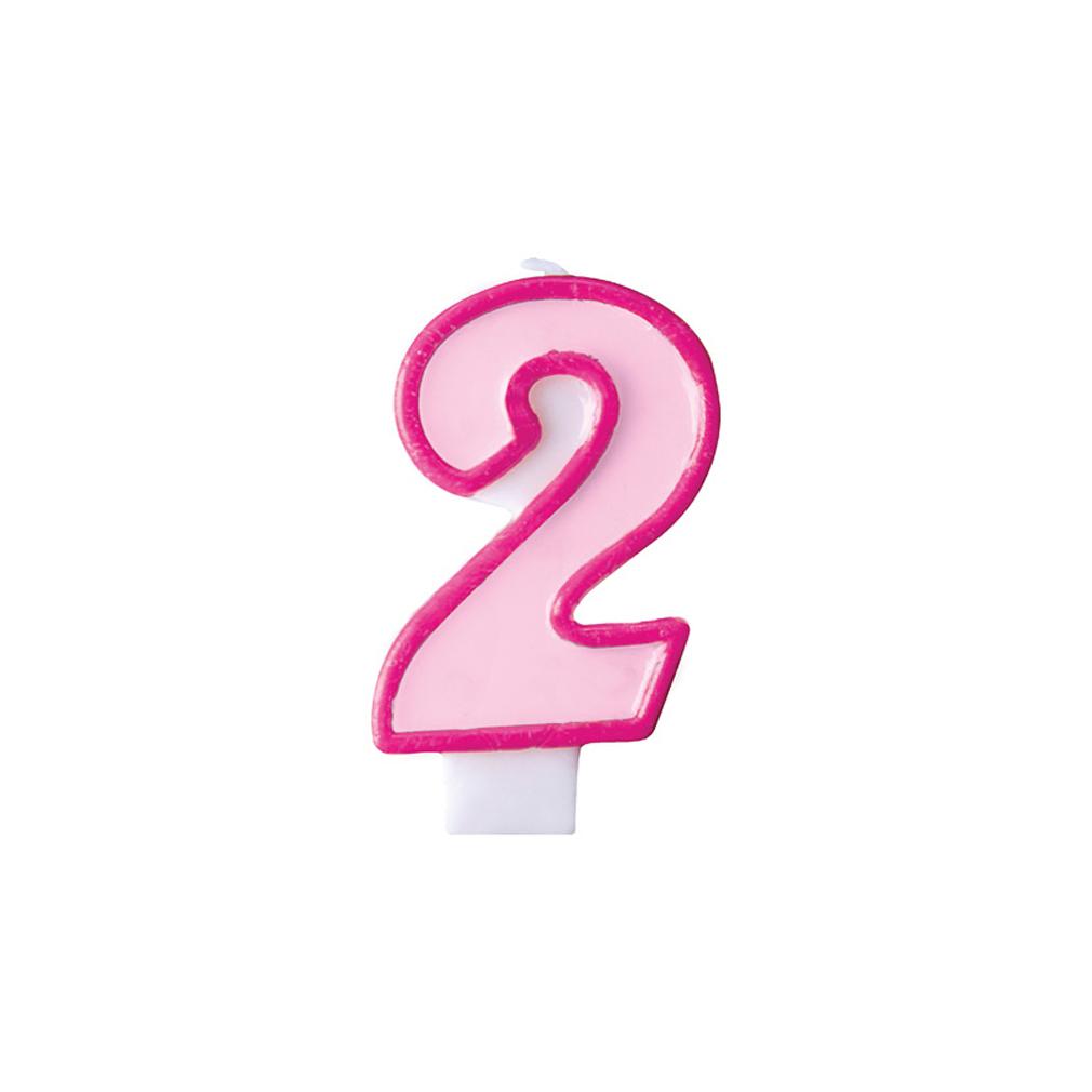Zahlenkerze Kerze Geburtstagstorte Geburtstagskuchen Geburtstag 2 pink