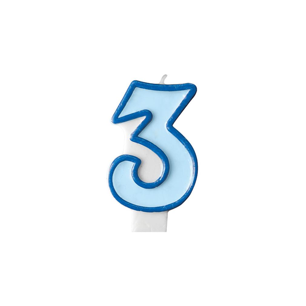 Zahlenkerze Kerze Geburtstagstorte Geburtstagskuchen Geburtstag 3 blau