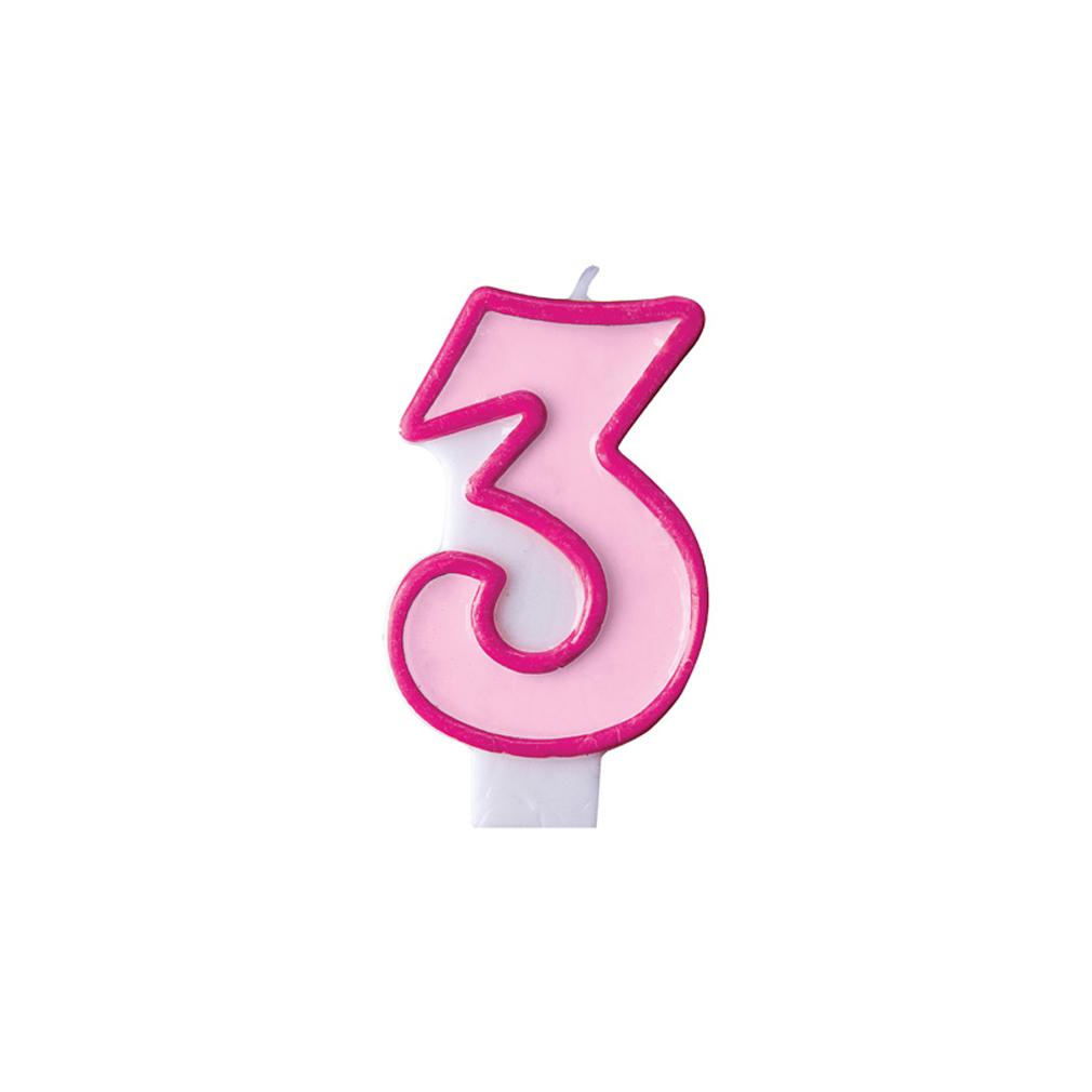 Zahlenkerze Kerze Geburtstagstorte Geburtstagskuchen Geburtstag 3 pink