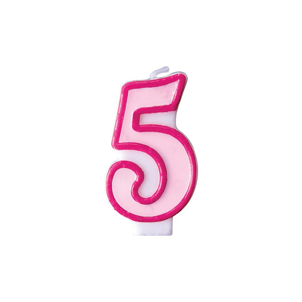 Zahlenkerze Kerze Geburtstagstorte Geburtstagskuchen Geburtstag 5 pink