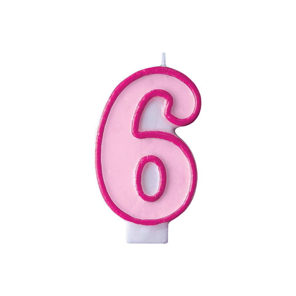 Zahlenkerze Kerze Geburtstagstorte Geburtstagskuchen Geburtstag 6 pink