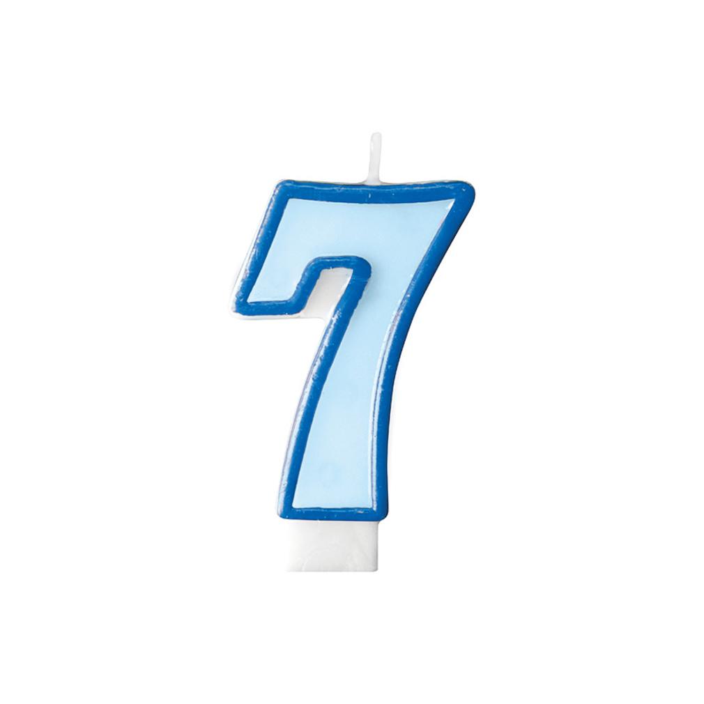 Zahlenkerze Kerze Geburtstagstorte Geburtstagskuchen Geburtstag 7 blau