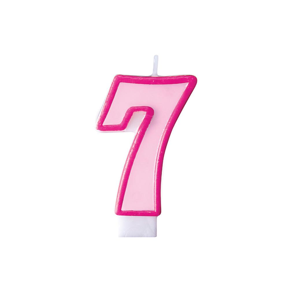 Zahlenkerze Kerze Geburtstagstorte Geburtstagskuchen Geburtstag 7 pink